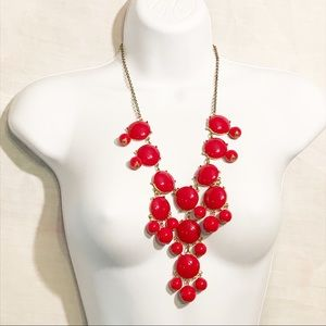 Red Waterfall Statement Runway Cascade Necklace